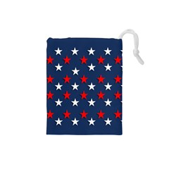 Patriotic Colors America Usa Red Drawstring Pouches (small)