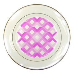 Geometric Chevrons Angles Pink Porcelain Plates