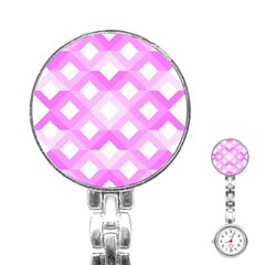 Geometric Chevrons Angles Pink Stainless Steel Nurses Watch