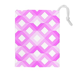 Geometric Chevrons Angles Pink Drawstring Pouches (extra Large)