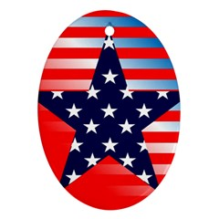 Patriotic American Usa Design Red Ornament (oval)