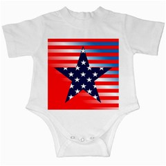 Patriotic American Usa Design Red Infant Creepers