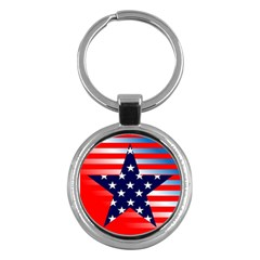 Patriotic American Usa Design Red Key Chains (round)