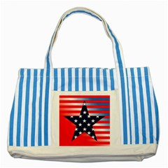 Patriotic American Usa Design Red Striped Blue Tote Bag