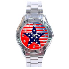 Patriotic American Usa Design Red Stainless Steel Analogue Watch