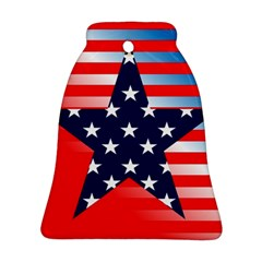 Patriotic American Usa Design Red Bell Ornament (two Sides)
