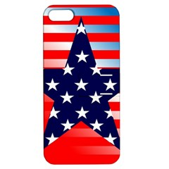 Patriotic American Usa Design Red Apple Iphone 5 Hardshell Case With Stand