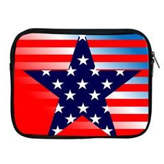 Patriotic American Usa Design Red Apple Ipad 2/3/4 Zipper Cases
