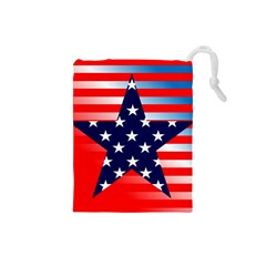 Patriotic American Usa Design Red Drawstring Pouches (small)