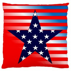 Patriotic American Usa Design Red Large Flano Cushion Case (one Side)