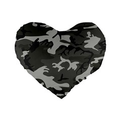 Camouflage Pattern Disguise Army Standard 16  Premium Heart Shape Cushions