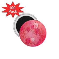 Pink Hearts Pattern 1 75  Magnets (100 Pack)