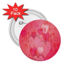 Pink Hearts Pattern 2 25  Buttons (10 Pack)