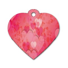 Pink Hearts Pattern Dog Tag Heart (one Side)