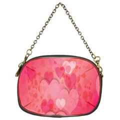 Pink Hearts Pattern Chain Purses (two Sides)