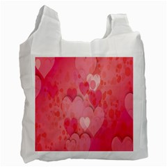 Pink Hearts Pattern Recycle Bag (one Side)