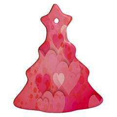 Pink Hearts Pattern Christmas Tree Ornament (two Sides)