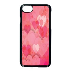 Pink Hearts Pattern Apple Iphone 7 Seamless Case (black)