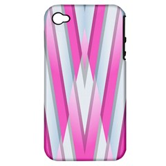 Geometric 3d Design Pattern Pink Apple Iphone 4/4s Hardshell Case (pc+silicone)