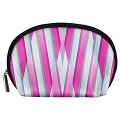 Geometric 3d Design Pattern Pink Accessory Pouches (large)