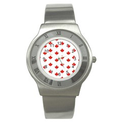 Maple Leaf Canada Emblem Country Stainless Steel Watch