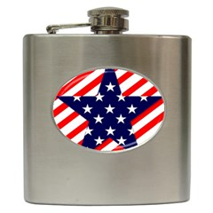 Patriotic Usa Stars Stripes Red Hip Flask (6 Oz)