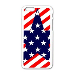 Patriotic Usa Stars Stripes Red Apple Iphone 6/6s White Enamel Case