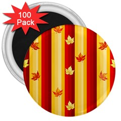 Autumn Fall Leaves Vertical 3  Magnets (100 Pack)
