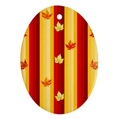 Autumn Fall Leaves Vertical Oval Ornament (two Sides)