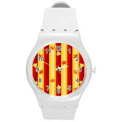 Autumn Fall Leaves Vertical Round Plastic Sport Watch (m)