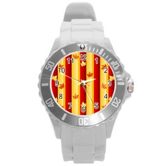 Autumn Fall Leaves Vertical Round Plastic Sport Watch (l)