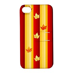 Autumn Fall Leaves Vertical Apple Iphone 4/4s Hardshell Case With Stand