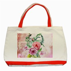 Flowers And Leaves In Soft Purple Colors Classic Tote Bag (red)