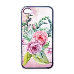 Flowers And Leaves In Soft Purple Colors Apple Iphone 4 Case (black)