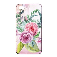 Flowers And Leaves In Soft Purple Colors Apple Iphone 4/4s Seamless Case (black)