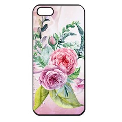 Flowers And Leaves In Soft Purple Colors Apple Iphone 5 Seamless Case (black)