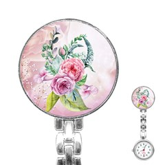 Flowers And Leaves In Soft Purple Colors Stainless Steel Nurses Watch
