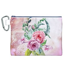Flowers And Leaves In Soft Purple Colors Canvas Cosmetic Bag (xl)