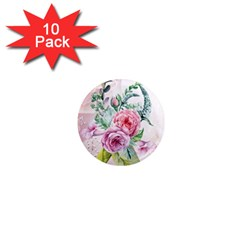 Flowers And Leaves In Soft Purple Colors 1  Mini Magnet (10 Pack)