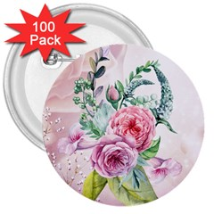 Flowers And Leaves In Soft Purple Colors 3  Buttons (100 Pack)