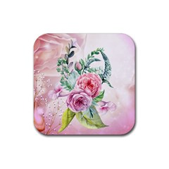 Flowers And Leaves In Soft Purple Colors Rubber Square Coaster (4 Pack)