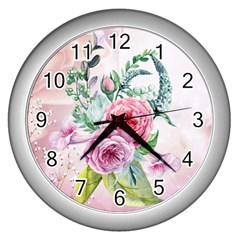 Flowers And Leaves In Soft Purple Colors Wall Clocks (silver)