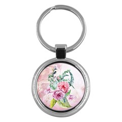 Flowers And Leaves In Soft Purple Colors Key Chains (round)