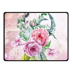 Flowers And Leaves In Soft Purple Colors Fleece Blanket (small)