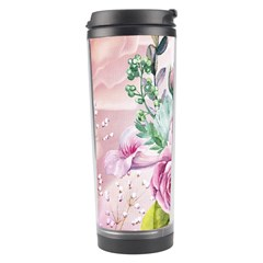 Flowers And Leaves In Soft Purple Colors Travel Tumbler