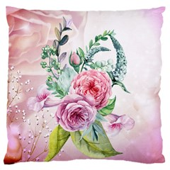 Flowers And Leaves In Soft Purple Colors Large Flano Cushion Case (two Sides)