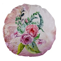 Flowers And Leaves In Soft Purple Colors Large 18  Premium Flano Round Cushions