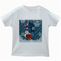 Funny Santa Claus With Snowman Kids White T Shirts