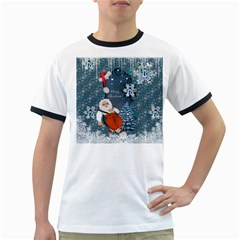 Funny Santa Claus With Snowman Ringer T Shirts