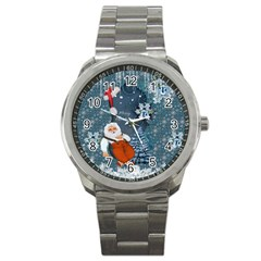 Funny Santa Claus With Snowman Sport Metal Watch